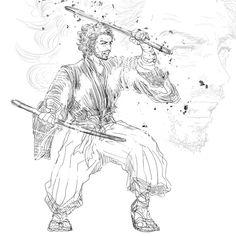 @gnayprojectのInstagram「#samurai #kimono #bushido #katana #originalart #illustrator #illustration #illust #illustgram #侍