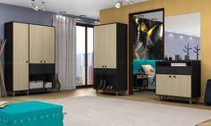 Quarto de Casal Completo com Guarda-roupas, Criado-mudo e Cômoda Equilíbrio Vanilla/Preto - Estilare Móveis