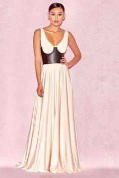 Eleanora Blush & Black Leather Corset Gown