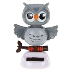 Swing Solar Powered Dancing Toy For Car Home Decoration With Hold Sticker Owl Solar Powered Toys, Dancing Toys, Gray Owl, Solar Lights, Bobble Head, Interior Accessories, Bird Feeders, Dance, Ornaments
