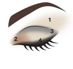1-lightest color 2-middle colour  3-darkest colour  Blend together with a naked brush  4-eyeliner or your darkest shadow colour