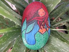 ORIGINAL-Hand-Painted-Rock-ART-Stone-Little-Mermaid-Painting-Signed-by-Marj