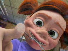 Darla from Nemo wearing braces and headgear!