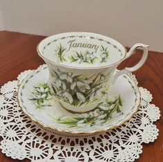 Royal Albert January Flower of the Month Teacup and Saucer by NostalgicRose, $28.00