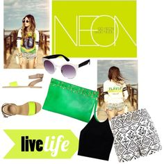 """""""Neon colours"""" by busta on Polyvore The Green Simplicity clutch from BÙSTA  #busta #bustabags #leatherclutch #leather #streetstyle #green #embroidery #folklore #handmade #clutch"""