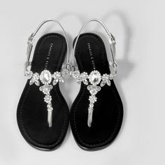 Bejewelled Flat Sandals - Silver - Flats - Shoes | CHARLES  KEITH WOMEN'S FLATS http://amzn.to/2jETOMx