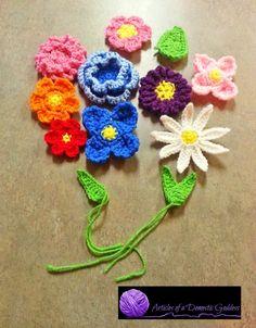Articles of a Domestic Goddess: Springtime Flower Assortment - Free Patterns Assorted Flowers, 3 Assorted Leaves) Crochet Crochet Puff Flower, Knitted Flowers, Crochet Flower Patterns, Flower Applique, Love Crochet, Beautiful Crochet, Crochet Designs, Knit Crochet, Leaf Patterns