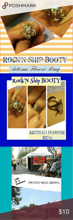 Rock'N Ship BOOTY~Artisan Flower Ring Check out this pretty looking Artisan Flower Ring Ladies! I believe this is a size 7, my ring finger, but feels a bit tighter than the usual 7. It's very pretty and intricate and you can tell it took the person time to make it. I like to think about what they were thinking as they made this type of ring, so delicate and special...Anyway, let it be yours or someone special you know! Will come in a small jewelry box, ready to give, next day shipping! As…