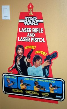 "Kenner Star Wars ""Laser Rifle and Laser Pistol"" store display header circa 1977."
