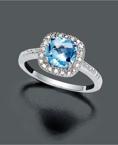 Victoria Townsend Sterling Silver Ring, Blue Topaz (1-3/8 ct. t.w) and Diamond (1/10 ct. t.w.) - Rings - Jewelry & Watches - Macy's