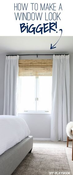 A genius trick to make your window look bigger. We love this idea for your space and the window treatments are a classic look! Read the tutorial and you can transform the windows in your bedroom.