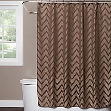 image of saturday knight chevron shower curtain in brown