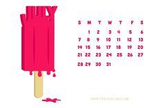 Desktop Calendar or Free Printable - July is melting popsicles.