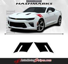 2016 2017 Chevy Camaro Hashmarks Hood Fender Factory OEM Style Double Bar 3M Accent Vinyl Stripes Decal Graphic SS RS V6