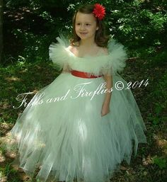 Flower girl dress in White with Red Sash and Flutter Sleeves  Wedding, Party Dress, Birthday, Formal Occasions, Sizes Baby up to Size 16