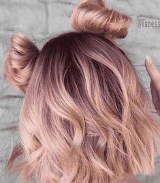 Hair Dye Balayage, Ombre Hair, Ombre Rose, Dye My Hair, New Hair, Blorange Hair, Hair Tips Dyed, Curls Hair, Cabelo Rose Gold