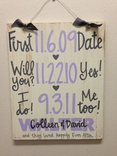 Pinterest Pallet signs valentines day | Custom Hand-Painted Wedding Anniversary Announcement with Dates ...