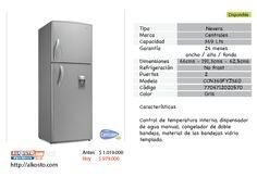 Nevera Centrales 369Lts.     Color Gris.        PRECIO    Antes: $1.019.000    ---> hoy: $979.000        Disponible en.  http://www.alkosto.com/nevera-centrales-369-ccn369fyjseo-gris