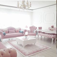 Pastel pink lounge sitting room thats fit for a princess! Royal classic elegance and style #roomdecor #pretty