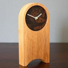 large oak clock | aoife wooden mantel clock - oak and burr walnut by craftwoods