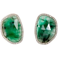Monique Péan Women's Oval-Shaped Studs ($9,800) ❤ liked on Polyvore featuring jewelry, earrings, green, white gold jewellery, white gold post earrings, green stud earrings, green earrings and green jewelry