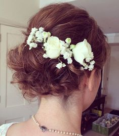 "40 Best Short Wedding Hairstyles That Make You Say ""Wow!"" - - Curly Wedding Updo For Short Hair Curly Wedding Updo, Wedding Bangs, Beach Wedding Hair, Short Hair Updo, Short Wedding Hair, Bridal Hair, Curly Hair Styles, Wedding Dress, Curly Short"