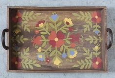 Hand Painted Wood Serving Tray - From Antiquefarmhouse.com - http://www.antiquefarmhouse.com/current-sale-events/the-attic16/hand-painted-wood-serving-tray.html