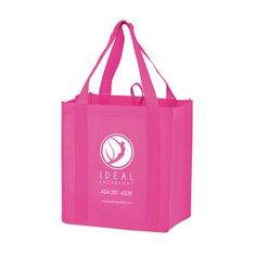 """Breast Cancer Awareness Pink Non-Woven Heavy Duty Grocery Bag w/ Insert (12""""x8""""x13"""") - Screen Print"""