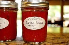 Pizza Sauce Recipe: 1 14 1/2 oz can of crushed tomatoes 1/8 cup of water 1 tsp of salt 1 1/2 tsp of sugar 1 tsp of garlic powder 1 tsp of onion powder 1 tsp of dried basil 1tsp of dried oregano *if you are using fresh tomatoes, you will need to add 4 tbsp of bottled lemon juice for acidity 20 minutes water bath