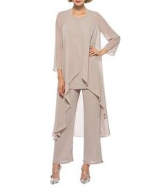 Details about Chiffon Mother Of The Bride Pant Suits 3 Pieces Long Sleeve Formal Party Gowns Chiffon Pants, Chiffon Dress, White Chiffon, Elegantes Outfit Damen, Mother Of The Groom Suits, Long Jacket Dresses, Dress Long, Long Blouse, Classy Outfits