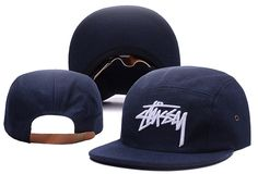 Men's Stussy Stock 3D Iconic Logo Embroidery 5 Panel Flannel Strapback Hat - Navy / White