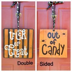 Double Sided Halloween Wood Wall / Door Sign 16x16 by GiftsbyGaby on Etsy