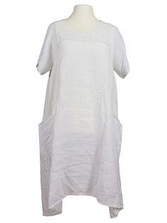 Damen Leinenkleid mit Spitze, weiss von Spaziodonna bei www.meinkleidchen.de