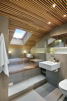 Modern Bathroom Have a nice week everyone! Today we bring you the topic: a modern bathroom. Do you know how to achieve the perfect bathroom decor? Modern Bathroom Design, Bathroom Interior Design, Modern House Design, Bathroom Designs, Home Design, Interior Ideas, Bad Inspiration, Bathroom Inspiration, Sauna Design