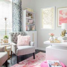 Home office an ugly mess? This before and after makeover added feminine style along with tons of organization to make office dreams come true. Home office, office decor, decor, Home Office design Decor, Craft Room Office, House Interior, Home Office Decor, Office Design, Room, Interior, Home Decor, Room Inspiration