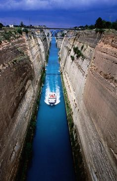 Corinth Canal, Greece: Just as I remember it . . . fun days on a class field trip. One of the advantages to private school overseas  was overnight field trips. Never got to that in Calif.