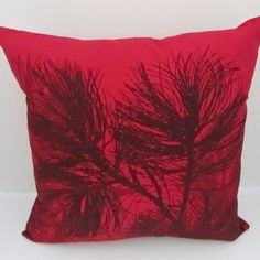 Red Marimekko pillow cover in authentic fabric Mänty (Pine) from Finland in standard sizes, accent pillow cover, FREE SHIPPING Canada and US on Etsy, $34.00