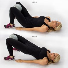 Medicine Ball Thigh Press: get in that booty bridge and squeeze those knees together!