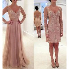 Aliexpress.com : Buy Two Pieces Long Evening Dresses V Neck Full Sleeve Pleats Chiffon with Floral Lace Sweep Train Long Prom Gowns Custom Made from Reliable chiffon summer dress suppliers on Life&Peace Dress Store | Alibaba Group