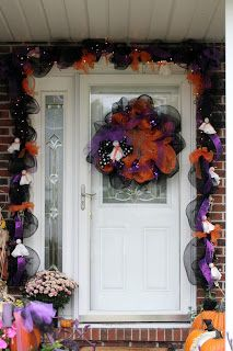 my halloween mesh deco garland for my own door please like my page unique mesh design on facebook halloween door decor pinterest garlands - Deco Mesh Halloween Garland