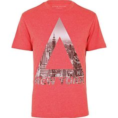 red new york triangle print t-shirt - print t-shirts - t-shirts / vests - men - River Island Tee Shirt Designs, Tee Design, T Shirt Vest, Shirt Men, Triangle Print, Great T Shirts, Polo T Shirts, Graphic Tee Shirts, Printed Tees