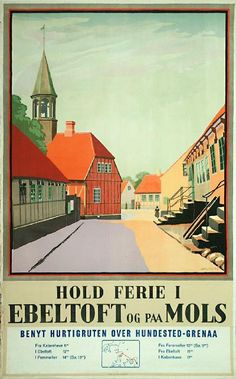 A Danish poster of Ebeltoft by the artist SPLIID from 1946. Ebeltoft is known for their pretty old houses and cobbled streets!