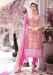 Casual Wear Cotton Pink Printed Churidar Suit