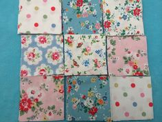 "40 x 4""  patchwork squares in cath kidston  cotton duck  fabrics,quilting £9.00 from  www.folksy.com/shops/patchworkandlace"