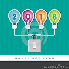 2018 happy new year concept illustration, Creative light bulb layout, diagram, step up options, Vector illustration modern design template