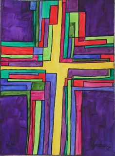 """Notice all the individual pieces coming together, in unity, to form the """"old rugged cross.""""  All the little pieces are MORE because of the cross.  It is the coming together that gives it meaning and power.  This is a picture not of a cross but of the Body of Christ- held together by the shared experience at the cross.  The yellow center represents the gift of God to the world.    """"How Kate sees God"""""""
