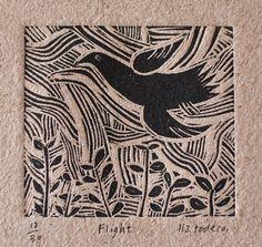 Flight - Linocut by Liz Toole