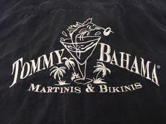 Tommy Bahama M Martinis & Bikinis Silk Black Short Sleeve Hawaiian Shirt #TommyBahama #Hawaiian