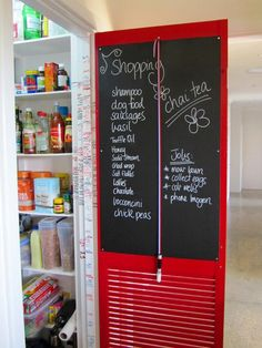Not only do the brilliant red and louvered panel break up a neutral expanse of wall, but the chalkboard panel mounted on the inside makes it a snap to keep track of grocery needs and daily schedules. And attaching a piece of chalk with a pretty ribbon ensures that you won't have to go digging through drawers when you need to write something down.