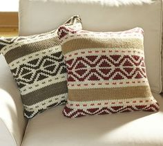 Damn you, Pottery Barn!  I now love everything on your entire Christmas site, and my house is NOT that big!   Trevor Fair Isle Knit Pillow Cover #potterybarn